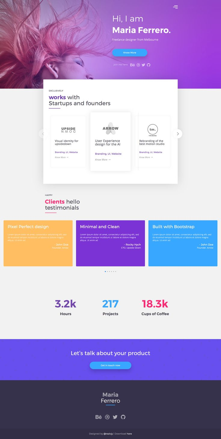 One Page Portfolio is a very cool HTML5 one-page portfolio template for designers. You can use this free bootstrap template to offer your creative services or products. This HTML5 template is built on Bootstrap, 100% mobile-friendly and looks amazing on any device.