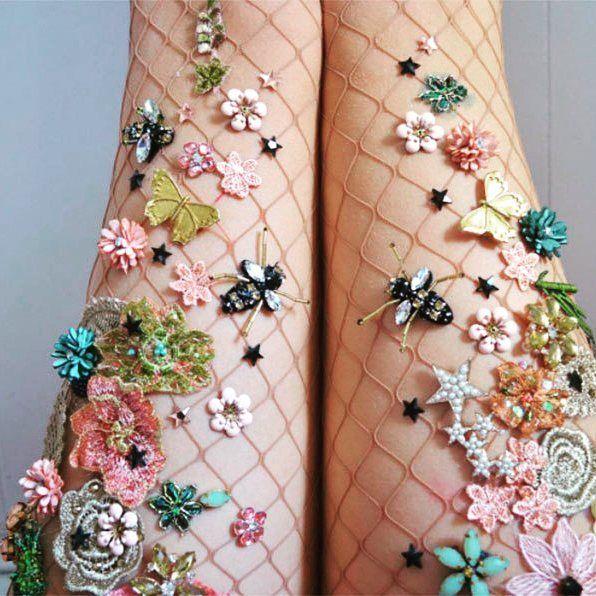 embellished fishnet socks / Lirika Matoshi