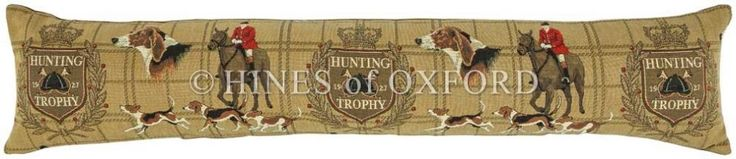 Hunting Trophy - Fine Tapestry Draught Excluder - Extra Long Fine Woven Tapestry Draught Excluder finished with luxurious British velvet back Draught