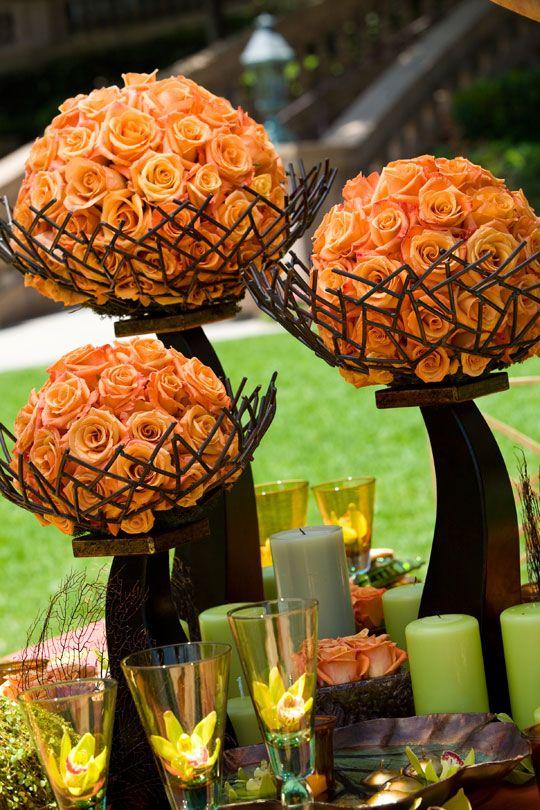 #Rustic #orange #flowers: Floral Centerpieces, Flowers Ball, Idea, Rustic Orange, Orange Flowers, Orange Rose, Wedding Centerpieces, Tables Decor, Fall Wedding