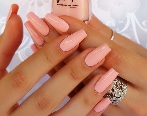 Salmon tapered nails. I'm starting to really like this shape…