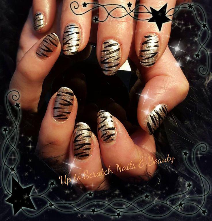Stunning Rose Gold Gel with Zebra Stripe Nail Art