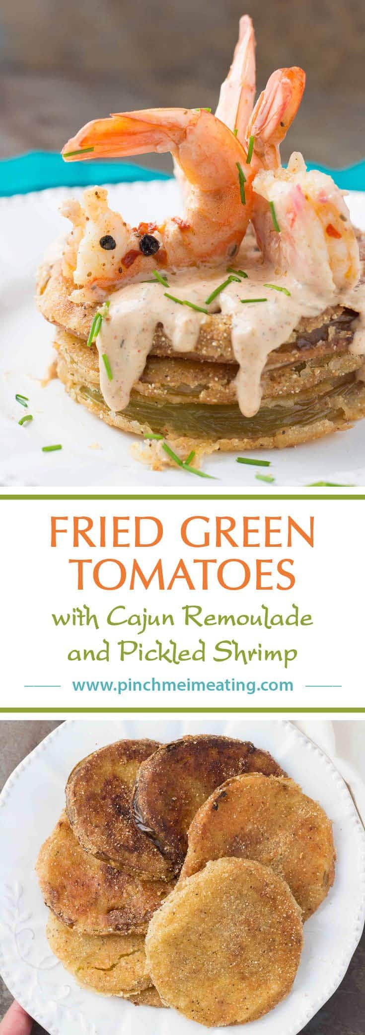 Fried green tomatoes with Cajun remoulade and pickled shrimp combine into a tangy, spicy, and crispy Southern dish you can use as an appetizer, side dish, or entrée!