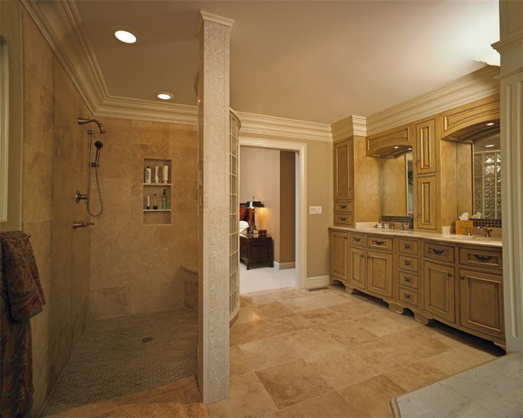 In This Award Winning Master Bathroom, A Curved Block Wall Separates The  Walk In · Walk In Shower DesignsWalk ...