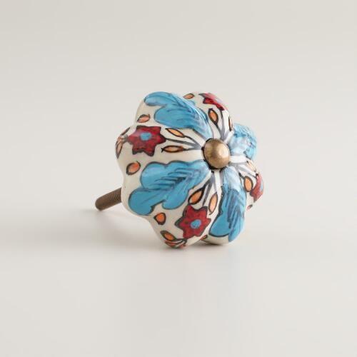 Blue and Red Floral Ceramic Knobs, Set of 2 | World Market