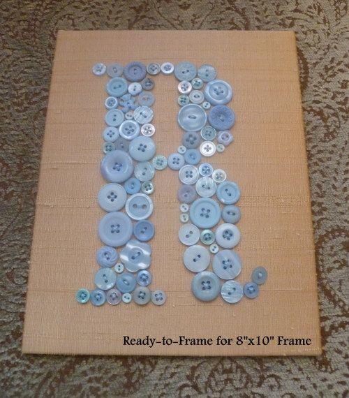 Baby Nursery Wall Art Button LETTER R on door letterperfectdesigns