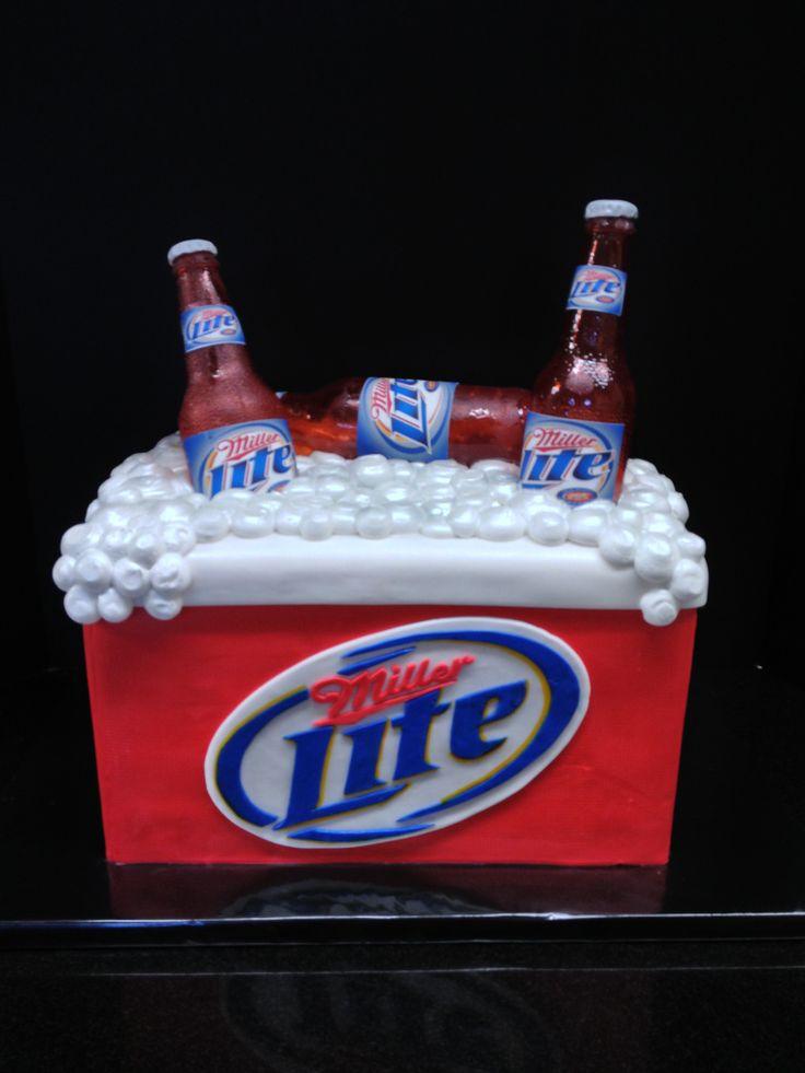 miller lite ice chest birthday cake
