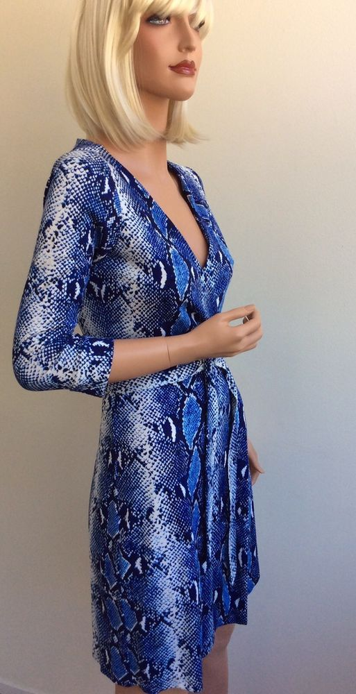 568195ef0ef DVF Diane Von Furstenberg blue snakeskin print wrap dress size 4   DianevonFurstenberg  WrapDress