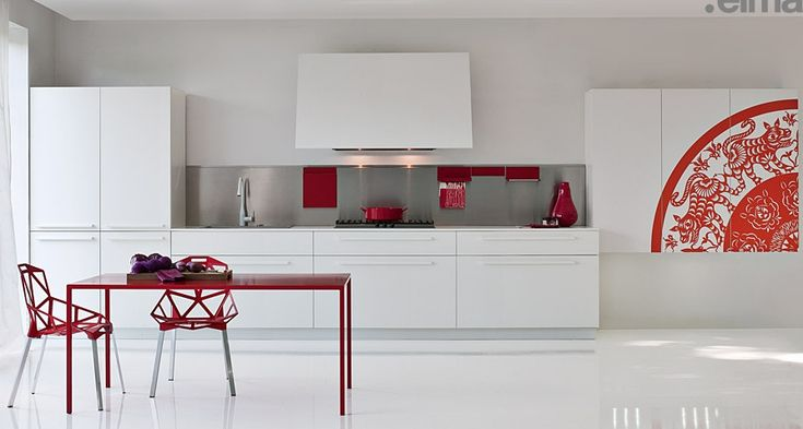 Kitchen:Great Elmar Kitchen Furniture Room Modern Red Rectangle Table Chair Floor Window Partition White Cabinet Backsplashes Long Faucets S...