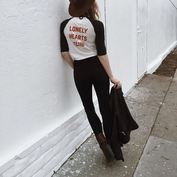 """Baseball tees are a fave<3 loving the """"lonely hearts club"""" text too"""