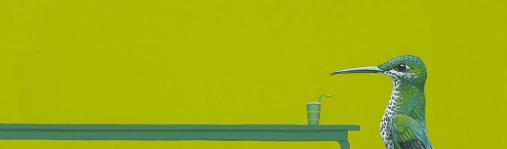 Kolibrie / Hummingbird - 15 x 50 cm - acrylverf op papier / acrylic on paper - 2012  - verkocht / sold