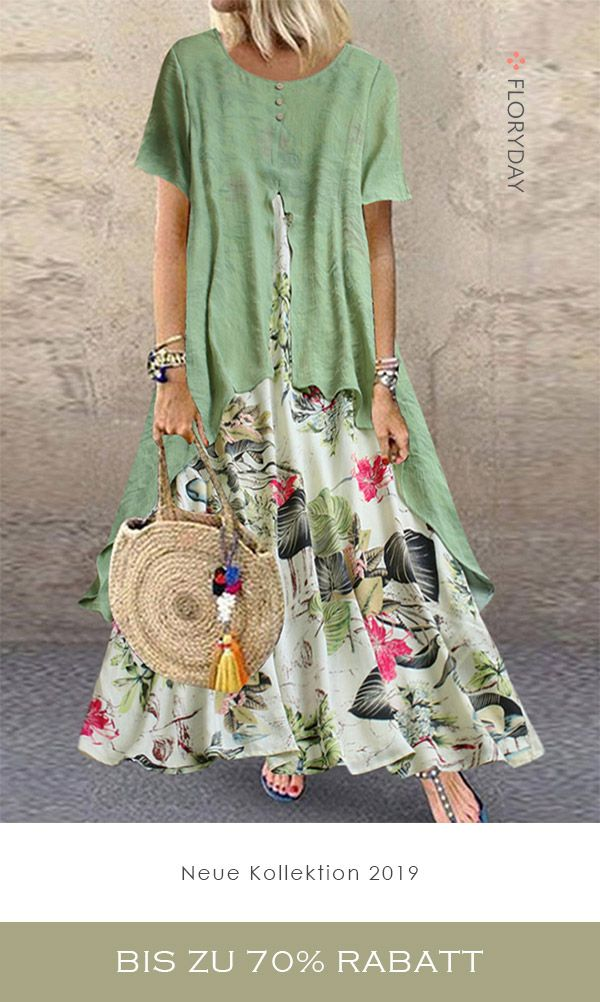 Maxi-Kleid in A-Linie mit Blumenmuster