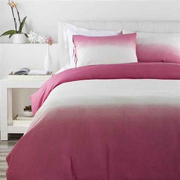 Dip Dyed Contemporary Raspberry Cotton Flax Twin Duvet (L 86 X W 68)