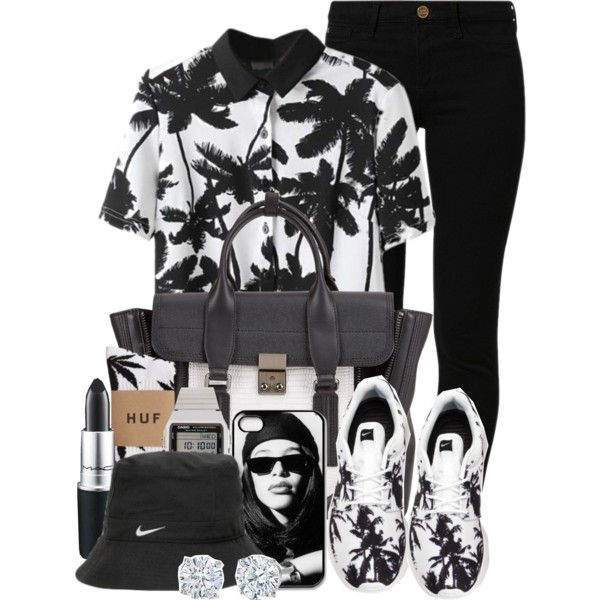 A fashion look from June 2014 featuring River Island jeans, HUF socks and NIKE shoes. Browse and shop related looks.