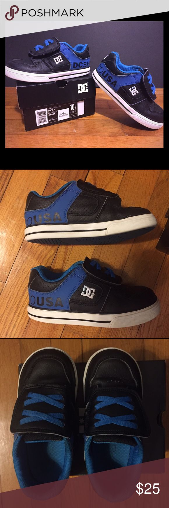 DC Shoe Co., Pure V style skater shoes! These DC shoe company skater style shoes are absolutely too cute! They have been worn very little and look like new condition! They are size 10 toddler, Velcro closure for easy on/off for the little ones. These literally can be worn with just about anything! I also have some adorable black leather rocker/biker jackets for sale that would look perfect with these! Bought these online for $50. Comes with the original box as well. DC Shoes Sneakers
