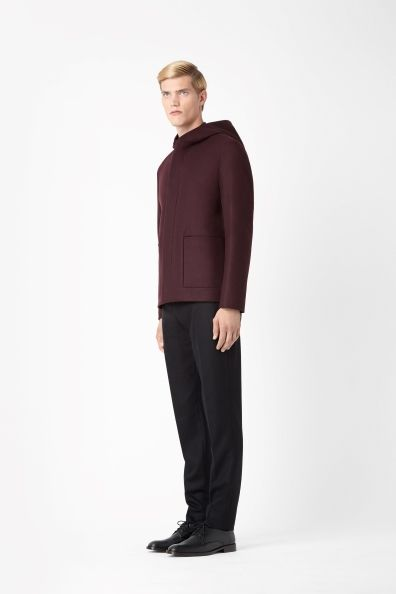 Wool mix hooded jacket