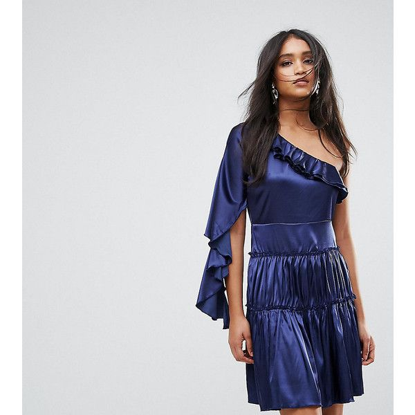 Lioness Frill One Shoulder Tiered Mini Dress (135 AUD) ❤ liked on Polyvore featuring dresses, navy, short dresses, navy maxi dress, maxi cocktail dresses, navy blue maxi dresses and navy midi dress