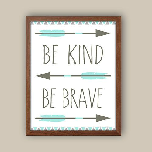 Nursery Art - Tribal Nursery Art - Tribal Pattern - Be Brave Quote -  Blue And Gray Nursery - Kids Tribal Arrows by iNKYSQUIDKIDS on Etsy