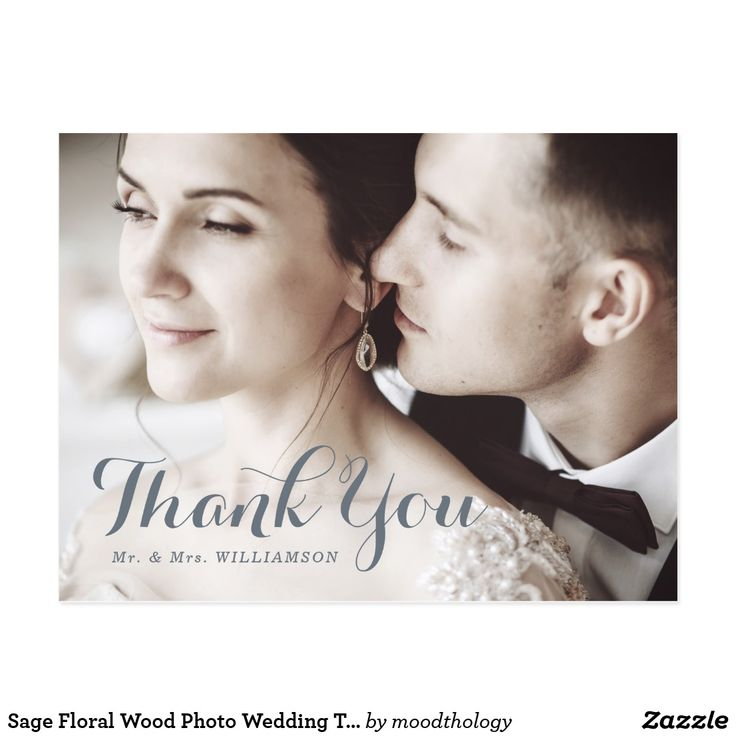 Sage Floral Wood Photo Wedding Thank You Postcard