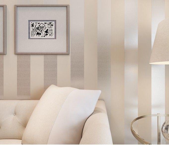 Le nouveau non tissé flocage papier peint à rayures chambre études salon papel de parede-inWallpapers simples de Home Improvement sur aliexpre ...