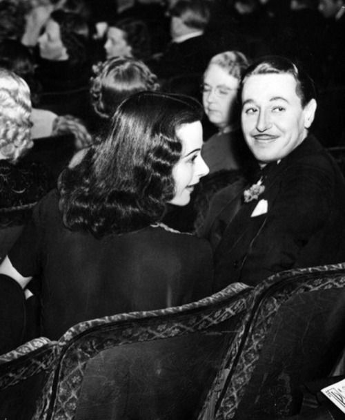 """Hedy Lamarr attending the premiere of """"Algiers"""" together with her close friend Reginald Gardiner, 1938."""