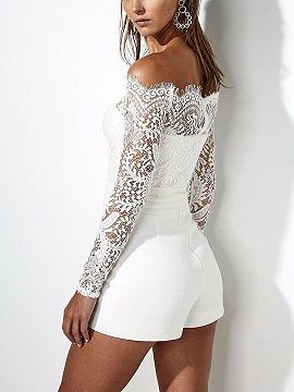 f8f4c4c8b392 White Off Shoulder Tie Waist Lace Panel Long Sleeve Playsuit ...