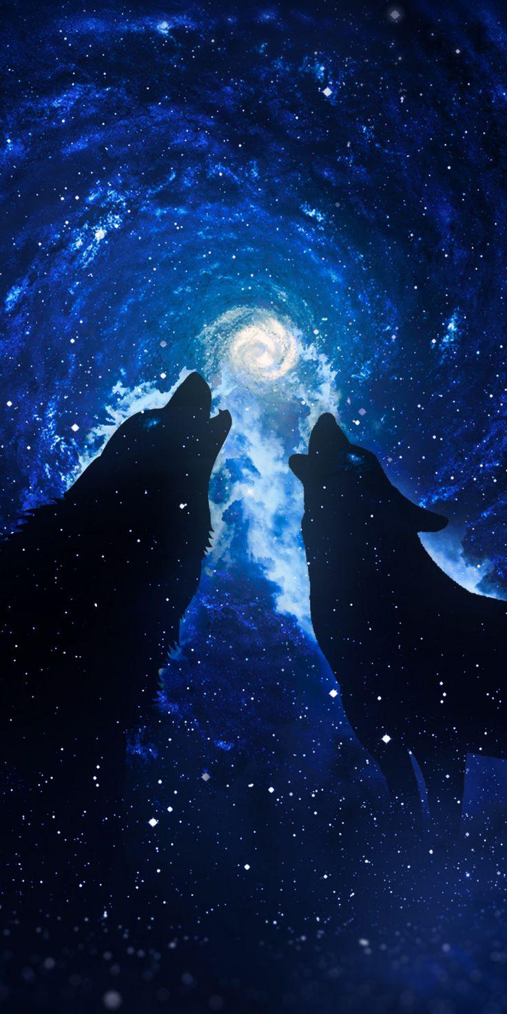 Wolves, silhouettes, starry sky, fantasy, art, 1080×2160 wallpaper
