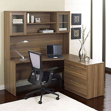 the ergo office pro x lshaped desk and hutch with lateral file cabinet