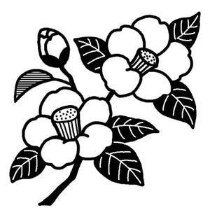 ツバキ3/ツバキ・ウメ(椿・梅)/冬の花/無料【白黒イラスト素材】