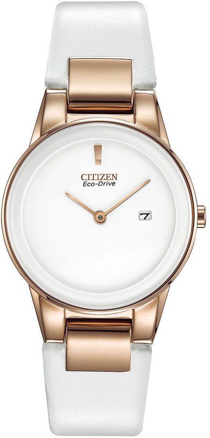 Citizen Eco-Drive Axiom Womens Rose-Tone White Leather Strap Watch GA1053-01A