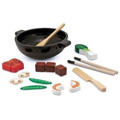 M & D Melissa and Doug Wok Stir Fry Slicing Pretend Play Set Available at Kids Mega Mart Shop Australia