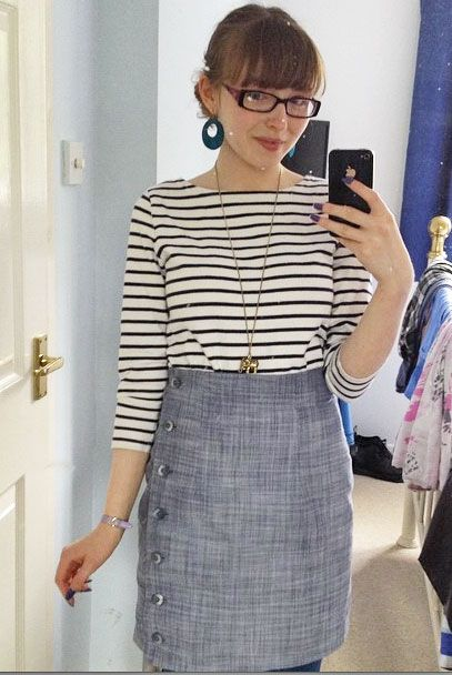 Beth's Arielle skirt in chambray