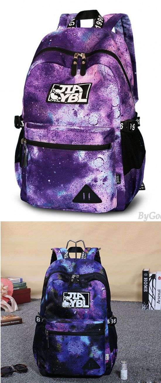 eb2f945af39 Colorful Large Galaxy School Rucksack Universe Polyester Travel ...