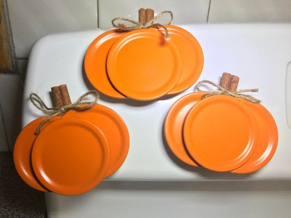 Mason Jar Lid Pumpkin Magnet with Cinnamon Stick Stems