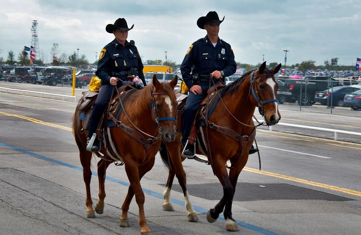 The Fort Worth Mounted Police patrol Texas Motor Speedway. Photo by Andy New.
