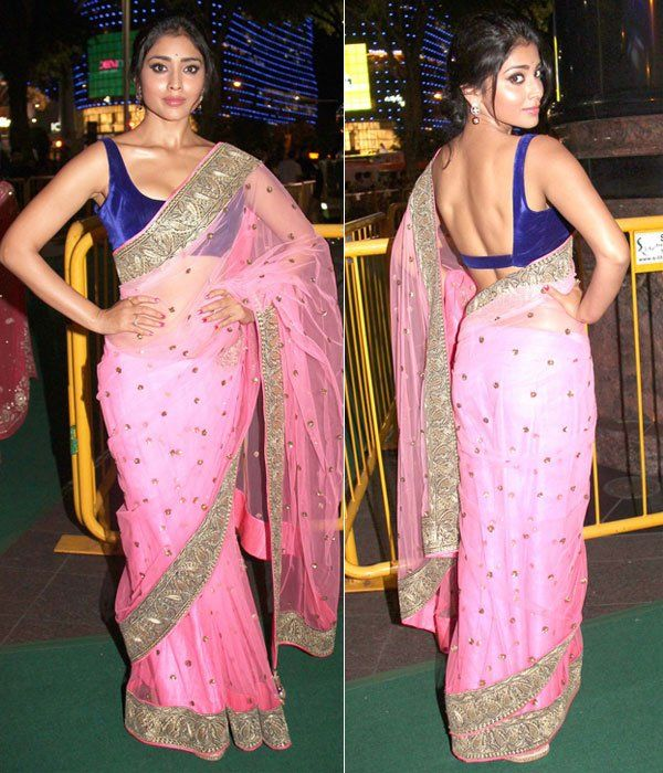 Shriya Saran in a gorgeous pink & silver Saree, brilliantly paired w/ royal blue blouse at IIFA 2012 Singapore