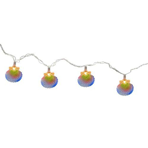 Felices Pascuas Collection Set of 10 Colorful Pastel Beach Seashells Patio and Garden Novelty Christmas Lights - White Wire