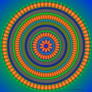 bead inspired mandala to color... this is a color picture... if you go to the website, you will find a black & white picture