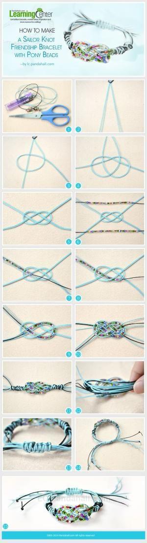 Como fazer uma Pulseira da Amizade Sailor Knot com pônei grânulos por querer