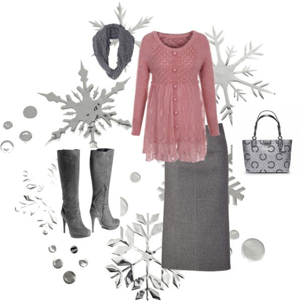 """""""pink & gray winter"""" by aaronjillthomas on Polyvore"""