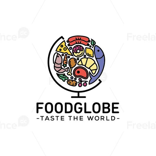 Logo-globe of the goodies for the restaurant, cafe, food blog, supermarket. Vector graphics.