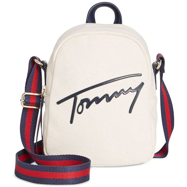 Tommy Hilfiger Tommy Script Mini Crossbody Backpack (1.992.230 VND) ❤ liked on Polyvore featuring bags, backpacks, natural, white crossbody bag, miniature backpack, white backpack, white cross body bag and day pack backpack