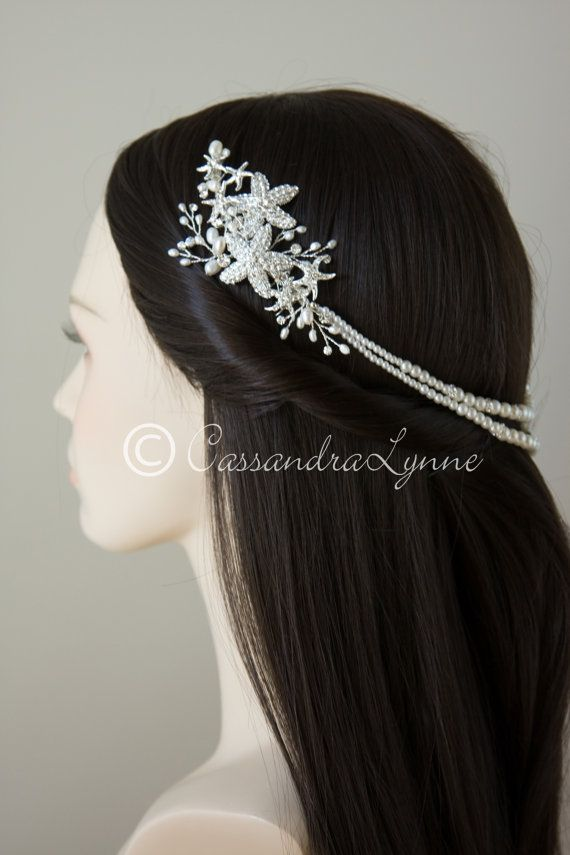 beach wedding starfish headpiece with rhinestone starfish ivory freshwater pearls and synthetic pearl bridal hair jewelry accessories