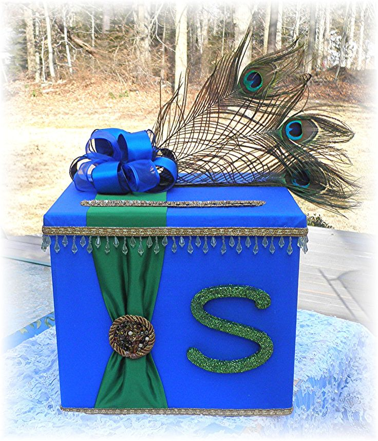 Indian Hindu Wedding CARD BOX Wishing Well Peacock Feathers CUSTOMIZE Your Colors Monogram Letter. $85.00, via Etsy.