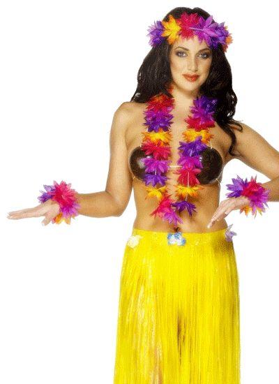 Hawaii kransen set. Gekleurde hawaii kransen set. De kransen zijn bedoeld voor om de hals, op het hoofd en om beide polsen. De kleuren zijn rood,geel,blauw en paars. Leuk voor een hawaii feestje.