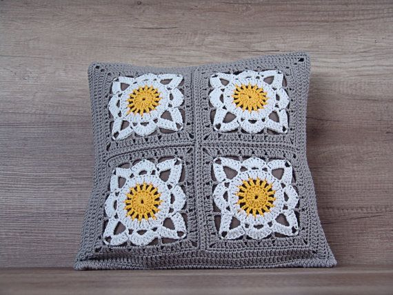 Cute crochet pillow fancy granny square by AdorningPillows on Etsy