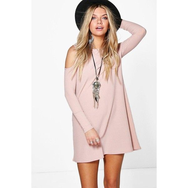 Boohoo Lily Cold Shoulder Soft Knit Rib Swing Dress ($26) ❤ liked on Polyvore featuring dresses, nude, pink cami, bodycon dress, special occasion dresses, pink swing dress and pink evening dress