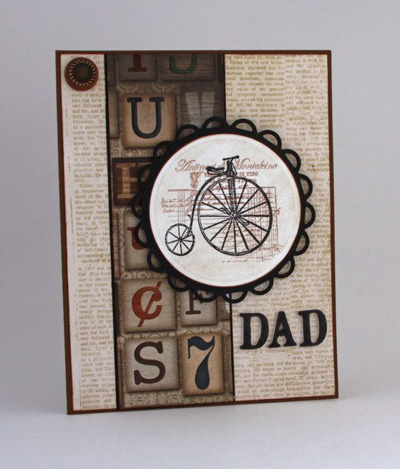 Dad Handmade Card Bicycle Card Father Card Birthday Card