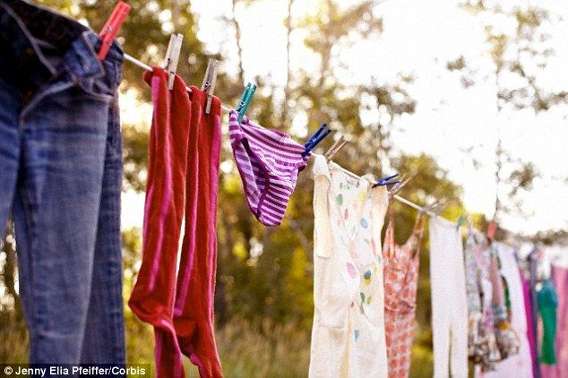 The researchers hope their techonology will eventually allow poeple to clean their clothes purely by leaving them out in the sunshine or under a bulb for a few minutes. It could even mean clothes can clean themselves while being worn, saving the need for hours spent washing each week (stock image of clothes hung outside)