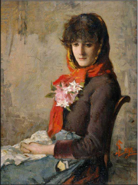 Silvestro Lega, Ragazza di Crespina- MACCHIAIOLO - The Macchiaioli did not follow Monet's practice of finishing large paintings entirely en plein air, but rather used small sketches painted out-of-doors as the basis for works finished in the studio.